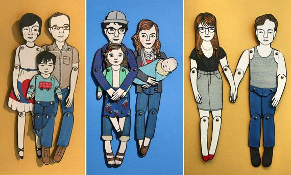 Personalized Paper Doll by Jordon Grace Owens Art & Illustration. Approx. 6 inches tall, made with cover weight paper held together with metal brads. Takes 4-6 weeks and begins at 25 dollars per figure depending on detail and size. Etsy page gives several examples. Could be an original wall decor or framed.