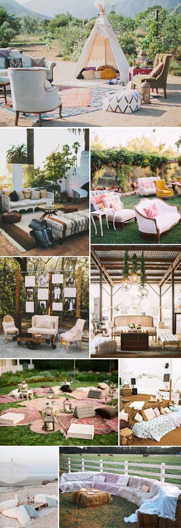 Wedding lounge ideas for your guests to relax and chat. Not only do lounges look cool, but your guests will love having a comfortable place to hang out instead of being stuck at their table