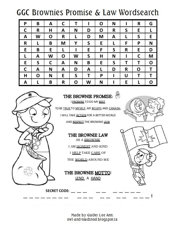 Girl Guides of Canada promise & law wordsearch Puzzles