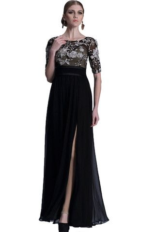 Larissa | Nityangi - Beautifully designed black formal dress. Chiffon and mesh with appliqué. This dress has 2 longer layers and 1 shorter layer underneath. It is padded enough for the no bra option and does up with a zip. NZ$269
