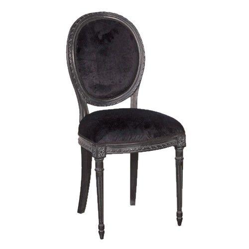 Chaise médaillon en acajou et velours Moulin noir http://www.maisondunreve.com/cuisine/chaises-de-cuisine/chaise-medaillon-en-acajou-et-velours-moulin-noir.html