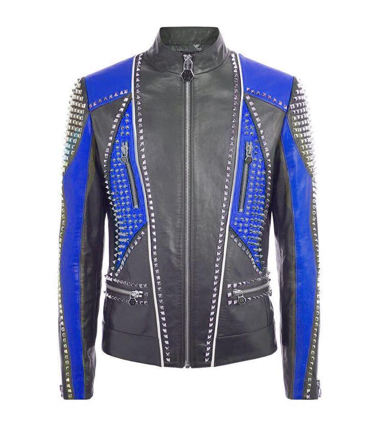 Unique Custom Made Men Philipp Plein Full Studded Leather Jacket Black Blue Size - Outerwear