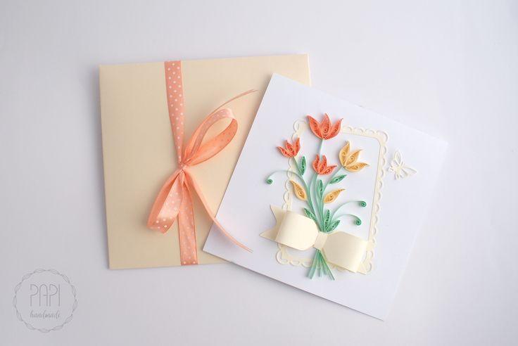 Wiosenne tulipany   Kartki ręcznie robione, zaproszenia ślubne handmade Poznań