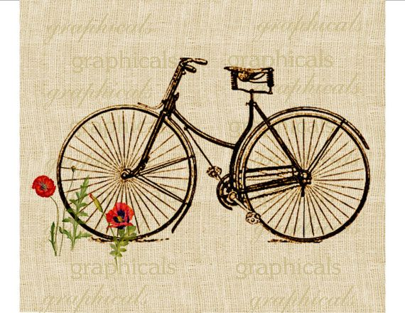 Vintage bicycle digital download image  Bicycle and by graphicals