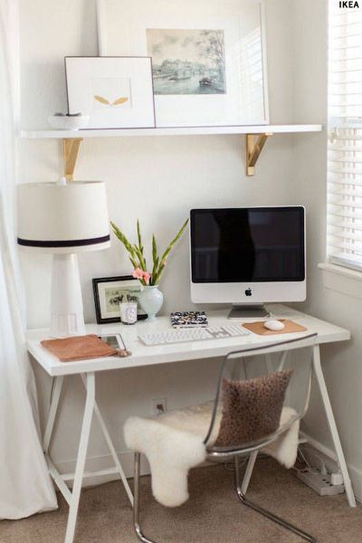 Shelf above desk