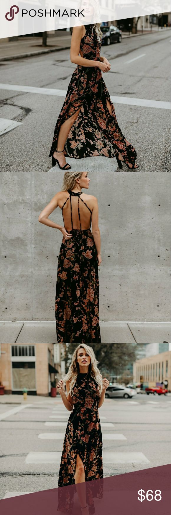 VICI collections Tawny Velvet Maxi Tawny Velvet Maxi Dress is soft to touch and has floral hues of green, red, and pink against the black backdrop. The high neckline and front slits define this maxi dress! Dresses Maxi
