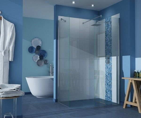 stylish bathroom ideas blue color scheme curbless shower glass partition - Bathroom Ideas Colors
