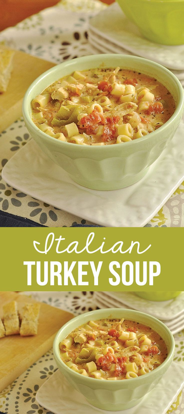 This Italian Turkey Soup is an easy and delicious way to use up your leftover turkey. And it can also be made with chicken!via www.thirtyhandmadedays.com