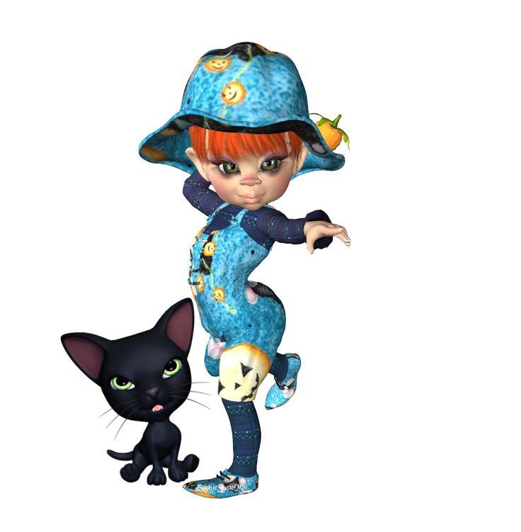 halloween png elf et son chat