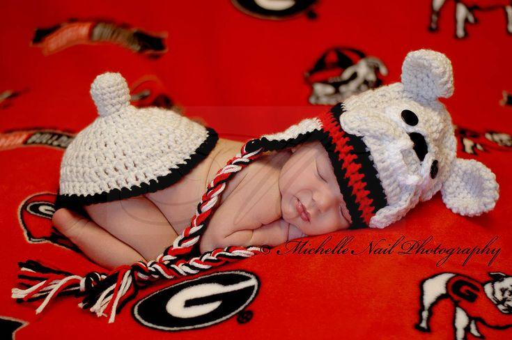Newborn Photography . . . UGA Football Baby . . . Georgia Bulldogs . . . Go DAWGS! Custom Hat and Tushy Cover