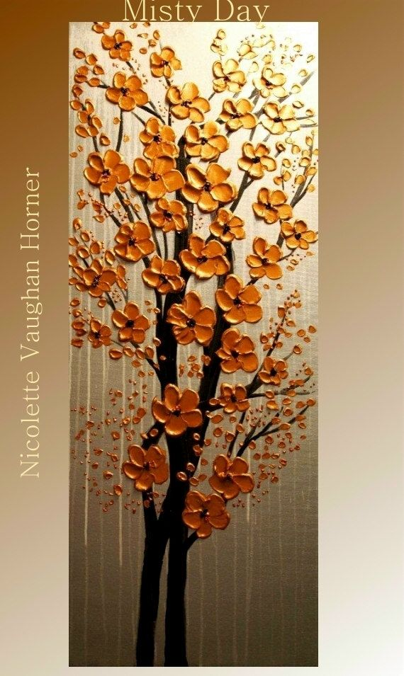 """ABSTRACT Original gallery canvas contemporary 40"""" palette knife signature floral impasto oil painting by Nicolette Vaughan Horner. $199.99, via Etsy."""