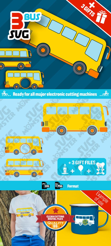 3 SVG BUS svg • Cut Files for Electronic Vinyl Cutter • png • Cricut Design Space, Silhouette Transport • 058 de la boutique SVGmonster sur Etsy