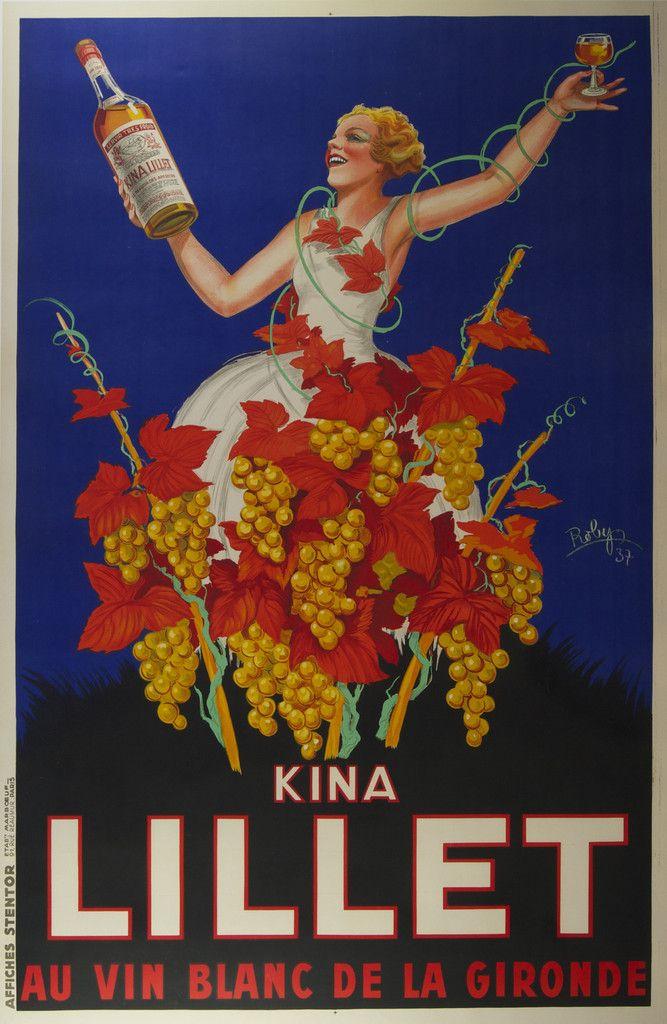 Kina Lillet - Au Vin Blanc de la Gironde 1937 Original Poster – Rue Marcellin #DuVino #wine www.vinoduvino.com