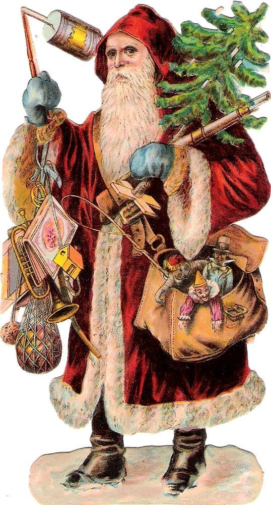 Oblaten Glanzbild scrap die cut chromo Nikolo 14cm father XMAS pere noel