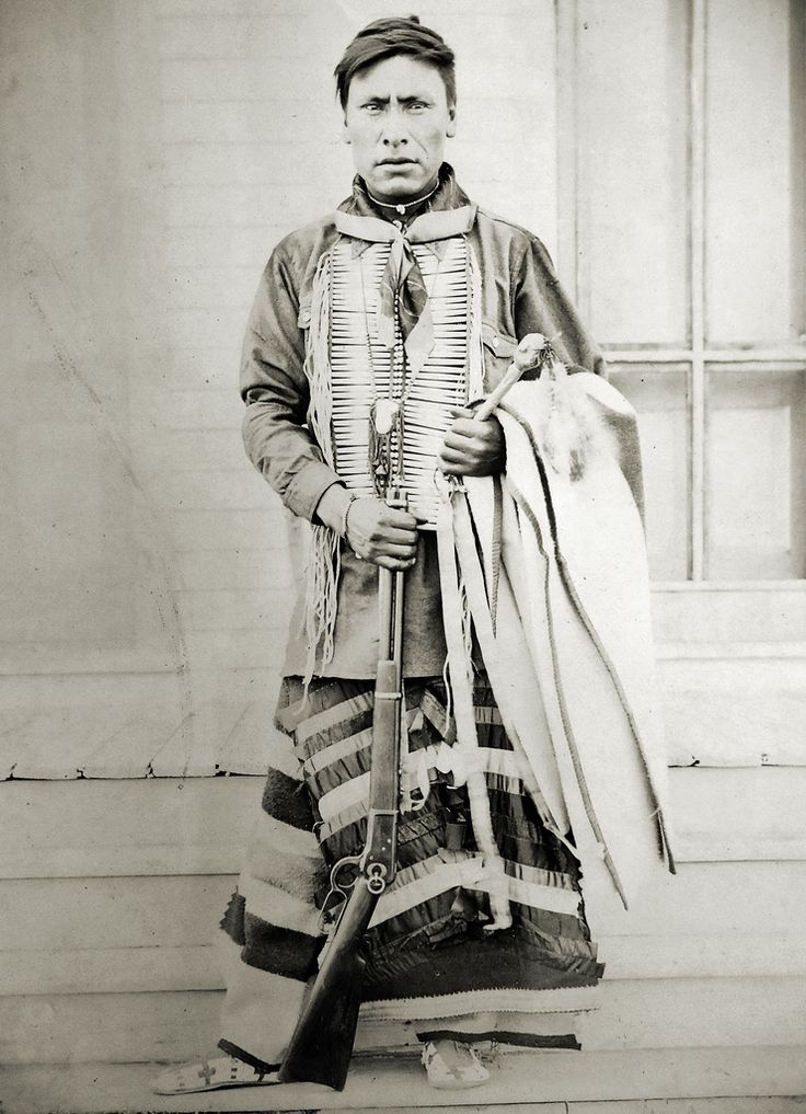 Enemy Boy- Assiniboine- born 1874. Photo taken at Fort Belknap, Montana, 1899. (Antique photo of Native American)