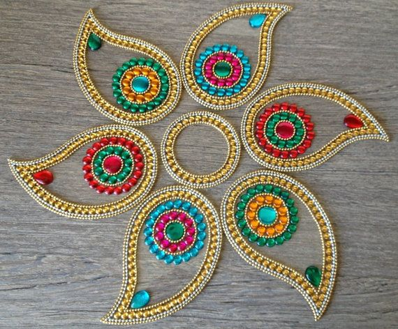 Colorful Indian Rangoli in Paisley for Diwali - 7 piece set