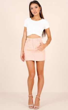 Cinnamon Girl denim skirt in blush