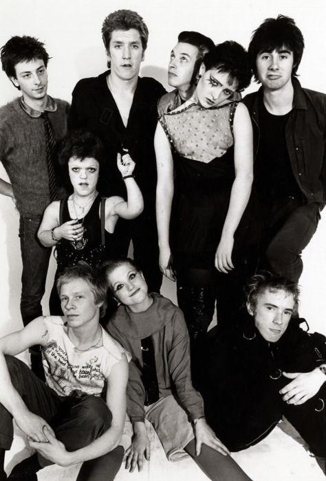 Sex Pistols, Steve Severin, Siouxsie Sioux and Debbie Juvenile, 1976.