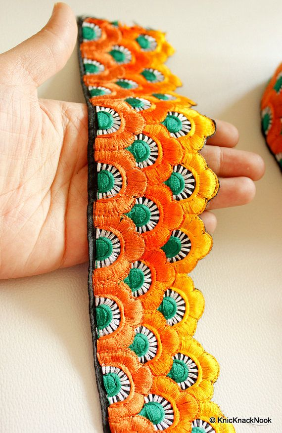 Shaded Orange, Green And White Thread Embroidery Trim, 65 mm wide