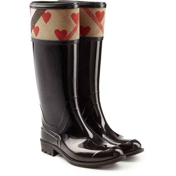 Burberry Shoes & Accessories Patent Wellington Boots ($225) ❤ liked on Polyvore featuring shoes, boots, black, red patent boots, red patent leather boots, black shiny boots, red patent leather shoes and wellies boots