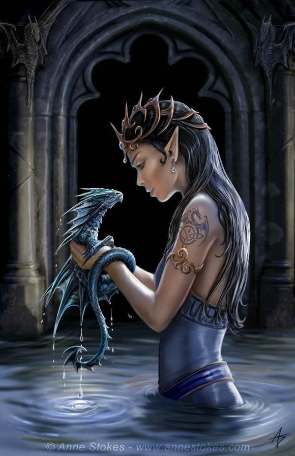 The Dragon Elf Queen with Her Dragon. Love hre Tat!