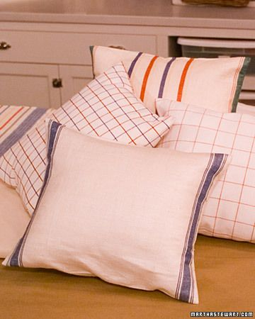 Use linen tea towels to make cushion covers