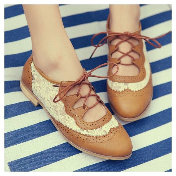 Brown Lace Women S Oxfords Vintage Shoes Lace Up Comfortable Flats For Work Date Anniversary Going Out Women Oxford Shoes Vintage Shoes Vintage Oxford Shoes