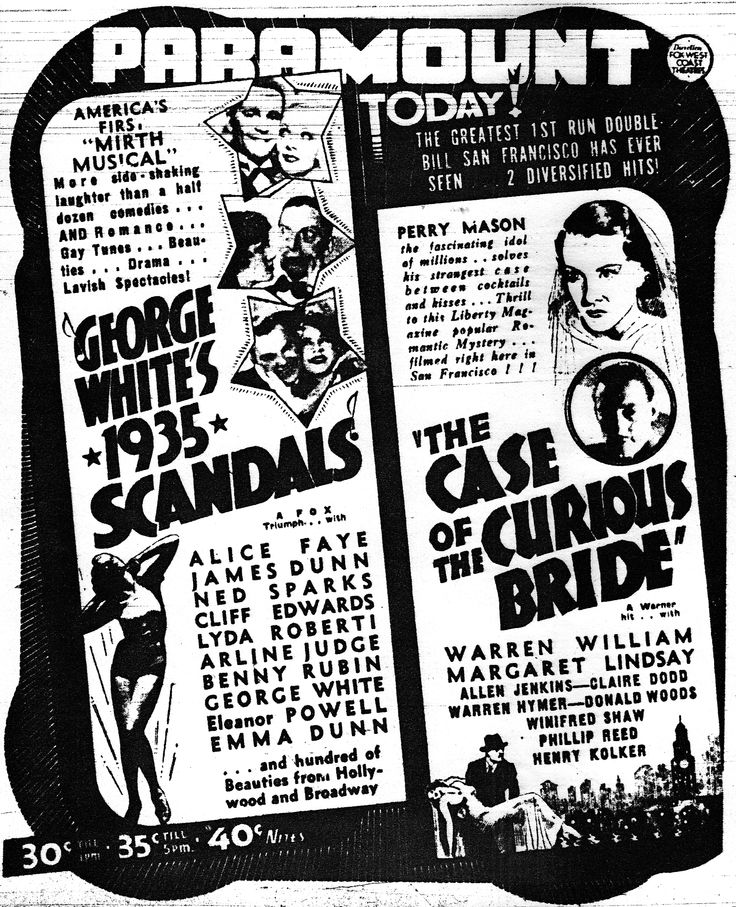 Warren William in The Case of the Curious Bride (1935).  San Francisco Chronicle, April 12, 1935.