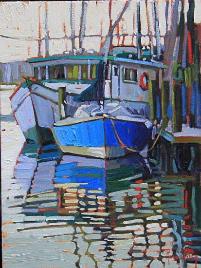 Sailboat & Shrimper by Rene Wiley by Rene' Wiley Gallery Oil ~ 16 x 12