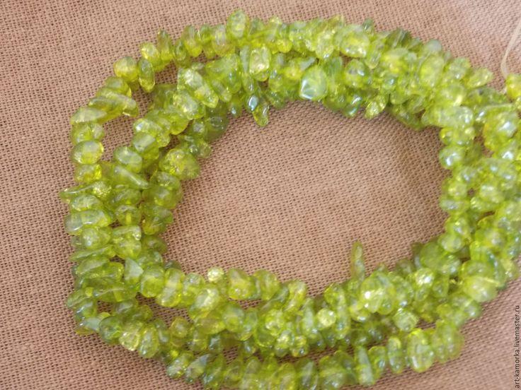 Купить Хромдиопсид, каменная крошка. нить 80 см - салатовый, зеленый, камни нитями