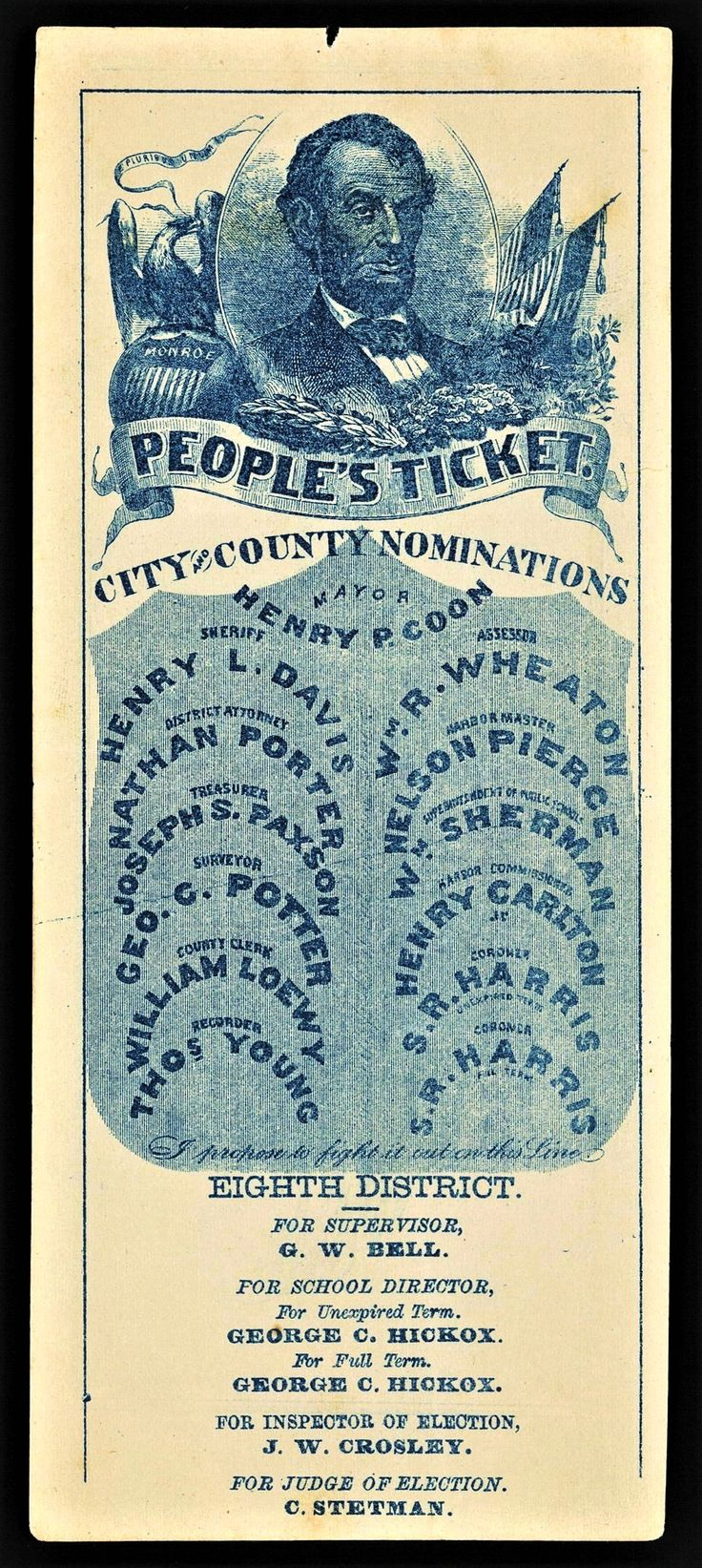 1862 California Republican (People's Party) ticket -  Abraham Lincoln portrait, Republican Party -  Eighth District