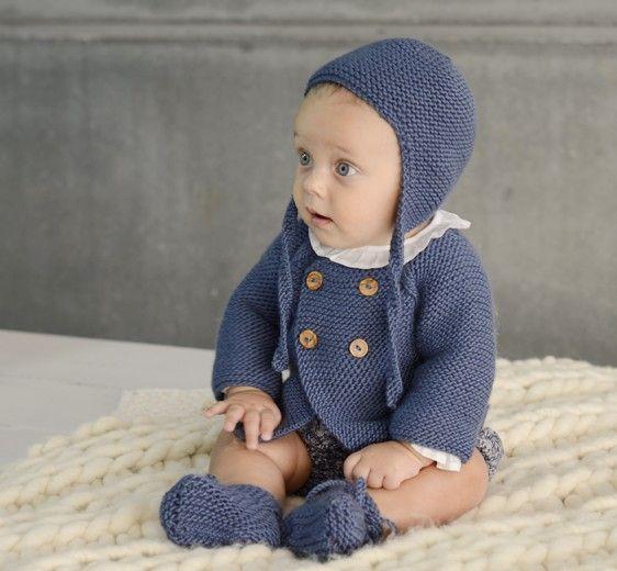Abrigo corto de lana en punto bobo   Nottocbaby