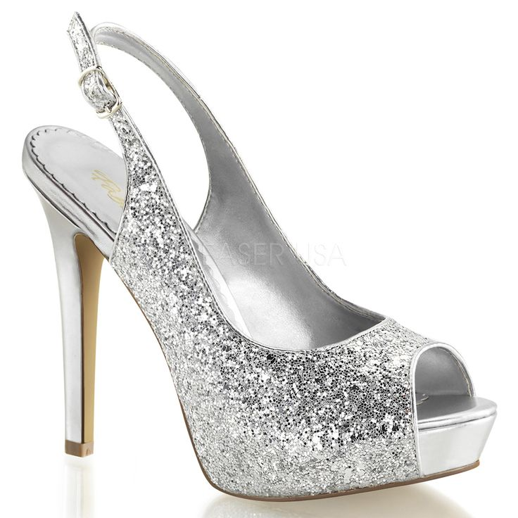 Silver Sparkly Platform Sling Back Party Shoes With sweatheart Peep Toe wxPWp9Q