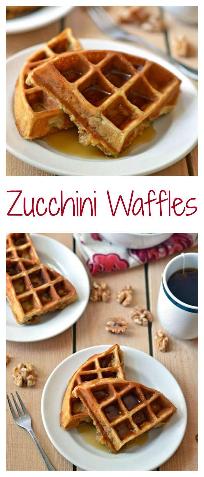 Ultra fluffy zucchini waffles. Your family will never suspect that there is veggies in these! #zucchini #healthy
