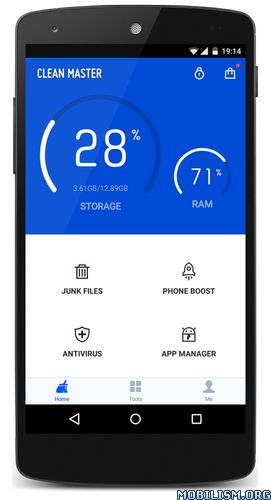 Clean Master (Boost & AppLock) v5.15.8 build 51586733Requirements: Varies with devicesOverview: The most trusted and safe Android optimizer, junk file cleaner, speed booster, battery saver and free anti-virus app with over 740 million...
