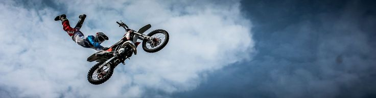 #bike #biker #clouds #extreme #jumping #motocross #motorbike #motorcycle #panoramic #person #sky #sport