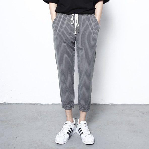 School Wind Striped Korean Style Clothing Men Pants Casual Mens Business Trousers Men Workout Pants Harem Hip Hop Dance Pants
