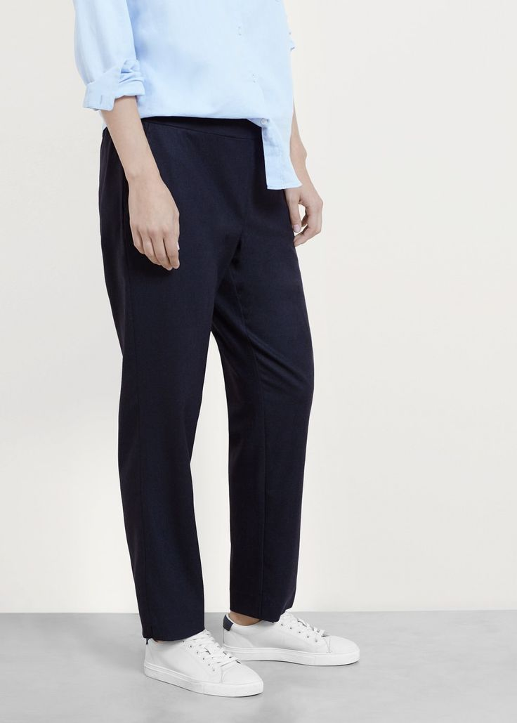 Baggy wool-blend trousers.