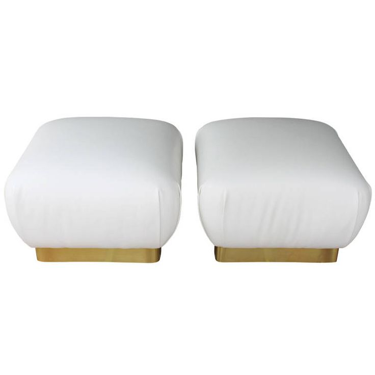 $1600 Pair of White Leather Ottomans by Marge Carson | From a unique collection of antique and modern ottomans and poufs at https://www.1stdibs.com/furniture/seating/ottomans-poufs/