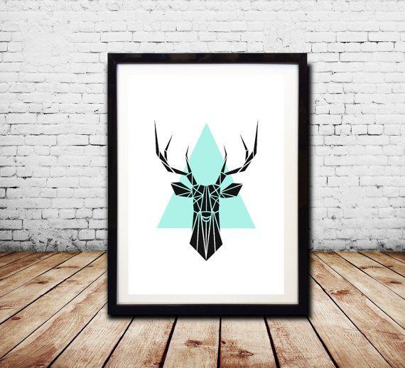 Geometrische Wand Kunstdruck geometrische Tier von CosmicPrint