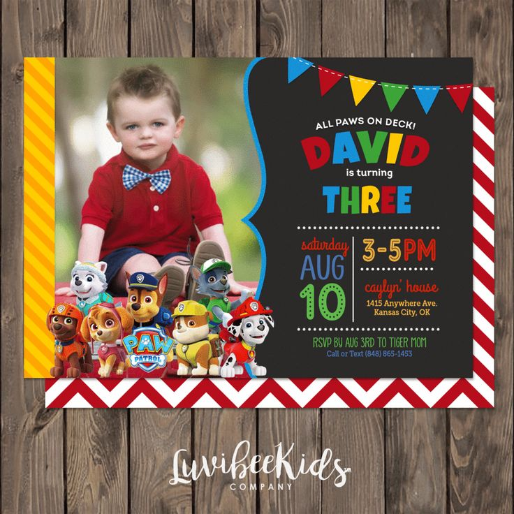 Paw Patrol Birthday Invitation with Photo | Primary Colors [New]