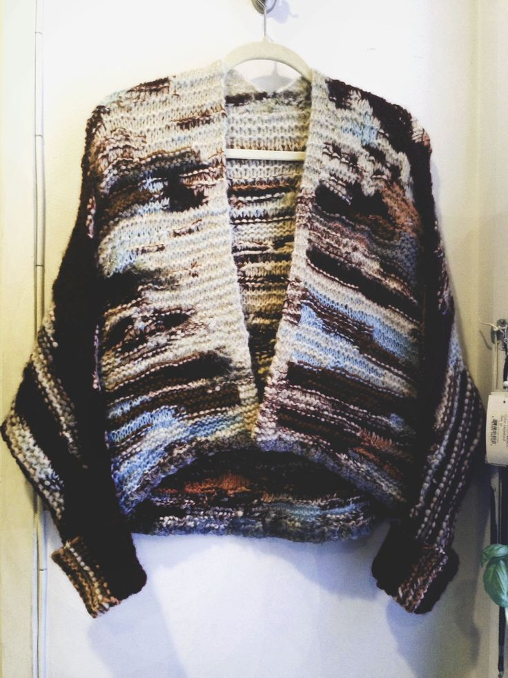 """amandahendersonknits: """"F/W 2014 À MOI COLLECTION — / amanda henderson knits / hand-knit collection piece, inward-thought intarsia shrug sweater in mixed materials. """""""