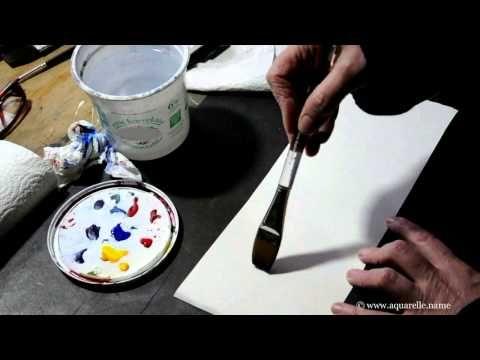 Les pinceaux plats - Deux tons sur zone humide - www.atelieraquarelle.org - YouTube