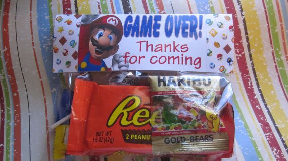 FREE DIY Super Mario Birthday party favor bag by BudgetBirthdays, $0.20
