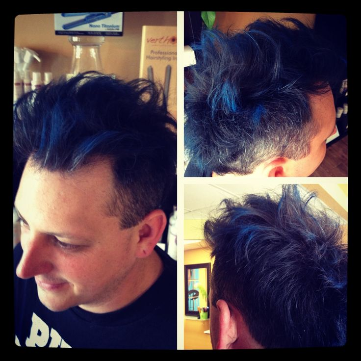 Edgy men's haircut with blue