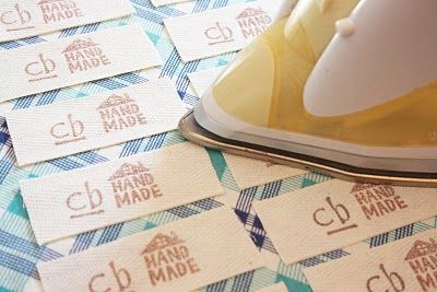 DIY fabric labels, made with rubber stamps.