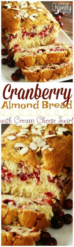 This Cranberry Almond Bread with Cream Cheese Swirl is like Christmas in a loaf pan. Super easy to make (no yeast needed) and is absolutely delicious! via @favfamilyrecipz