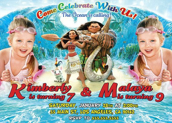 Moana Invitation for twins Moana birthday Moana by BogdanDesign