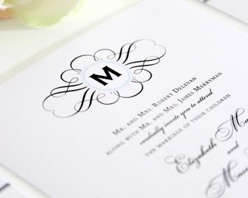 Elegance Monogram Wedding Invitation Detail