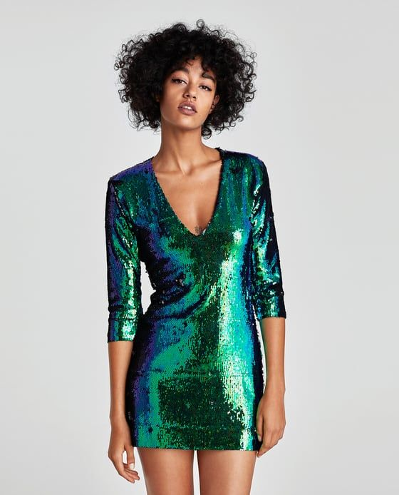 89ac2258 Image 2 of TWO-TONE SEQUINNED DRESS from Zara | My Style ;) | Green ...